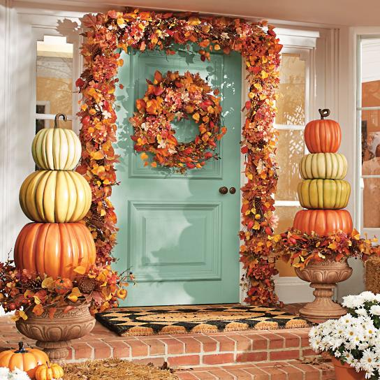 Stacked Pumpkins Fall Porch Idea