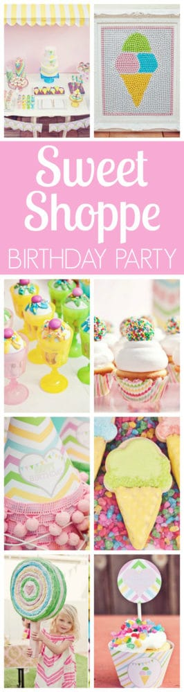 Colorful Sweet Shoppe Birthday Party featured on Pretty My Party