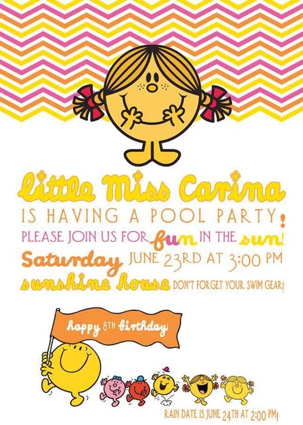 Little Miss Sunshine Party Invitation