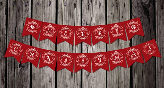 Free Printable Vintage Christmas Banner - Pretty My Party