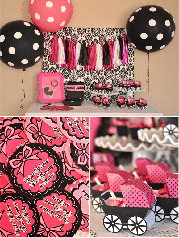 Pink & Black Glam Baby Shower - Pretty My Party