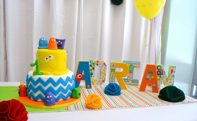 Colorful Monster Themed 1st Birthday Party Pretty My Party