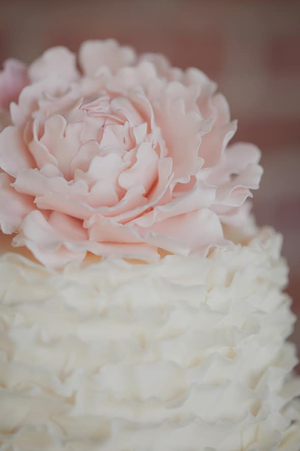 Tea Party Bridal Shower Cake with Pink Peony
