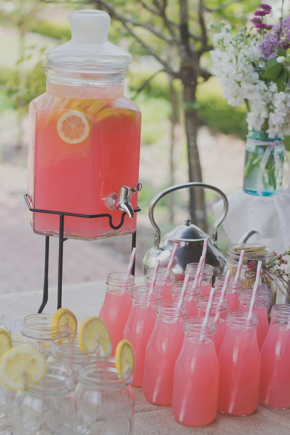 Pink Lemonade for a Tea Party Bridal Shower