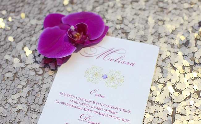 Gorgeous Purple and Gold Dinner Tablescape