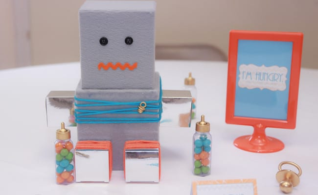 robot baby shower details included a modern robot cake fun robot table