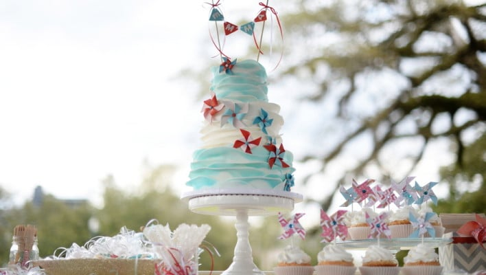 Mint and Coral Pinwheel First Birthday Party