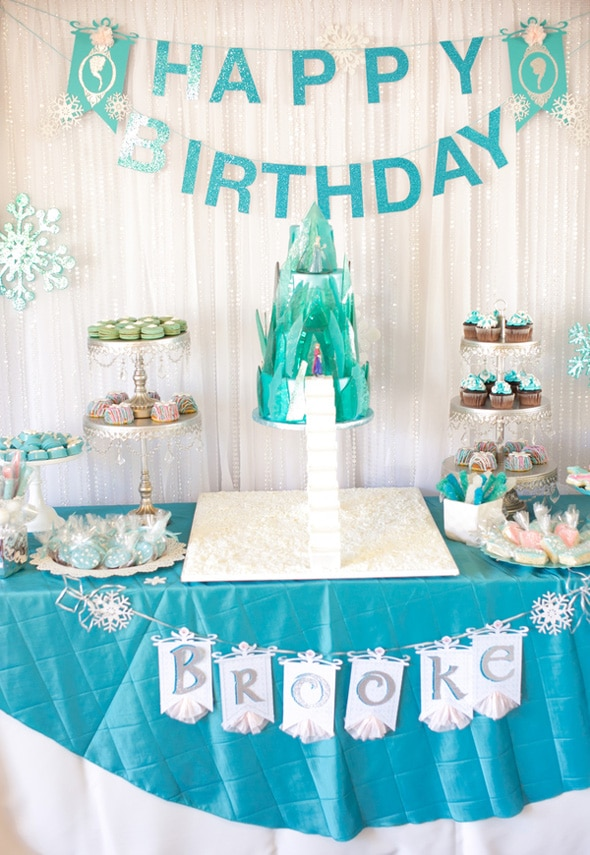 Amazing Frozen Party Dessert Table and Cake