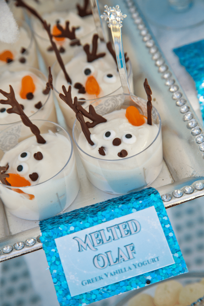 Melted Olaf Yogurt Cups - Frozen Party Ideas