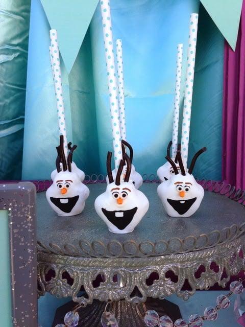 Olaf Cake Pops - Frozen Birthday Party Food Ideas