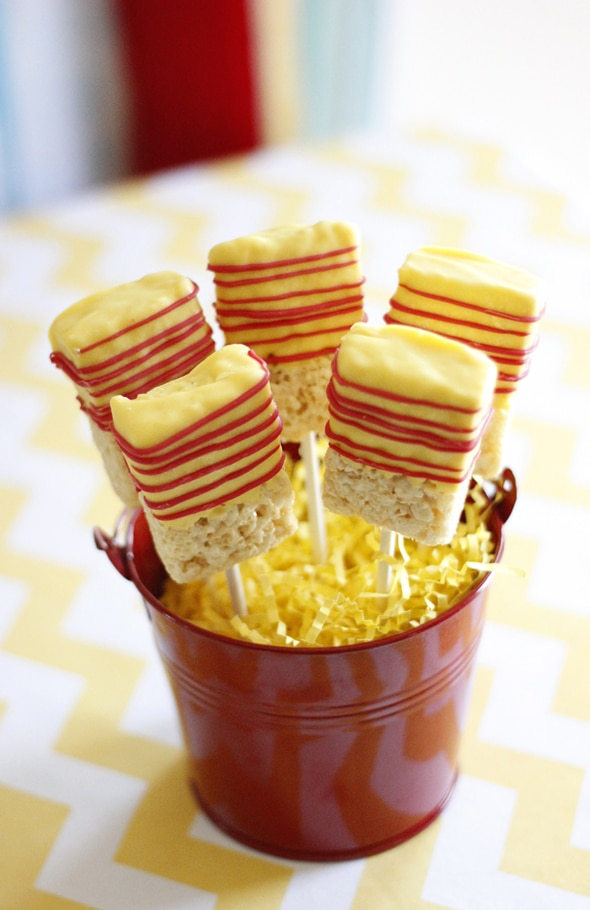 Rice Krispie Pops - Curious George Birthday Party Ideas
