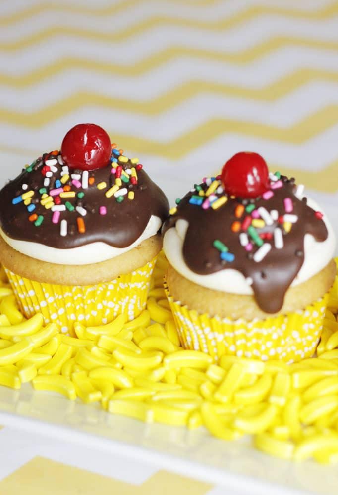 Curious George Birthday Banana Split Cupcakes