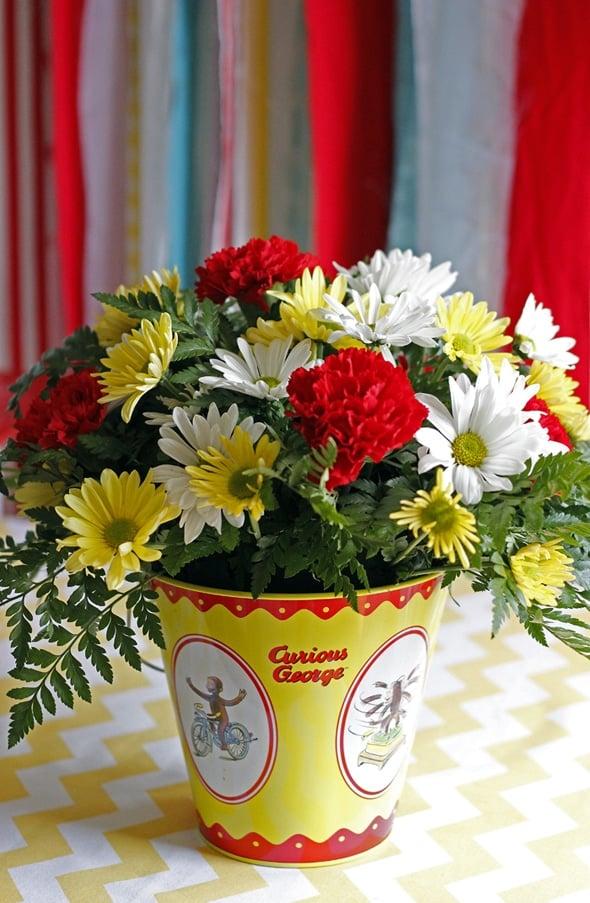 Curious George Birthday Flower Bucket Centerpieces
