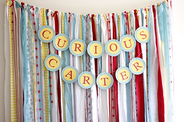 Curious George Fabric Dessert Table Backdrop