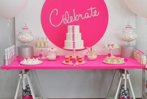 Neon Pink Celebrate Dessert Table