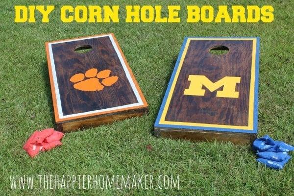 DIY Corn Hole Boards - Football Party Ideas