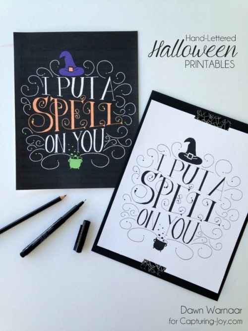 Free Hand-Lettered Halloween Printables