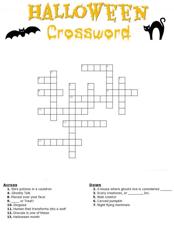 Free Halloween Crossword Puzzle
