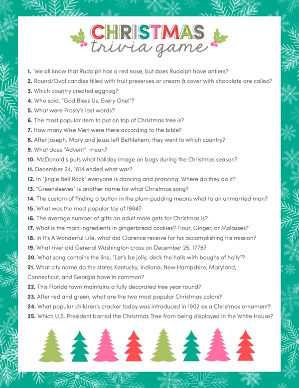 Free Christmas Trivia Game Printable