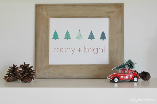 Merry and Bright Free Holiday Printable Sign