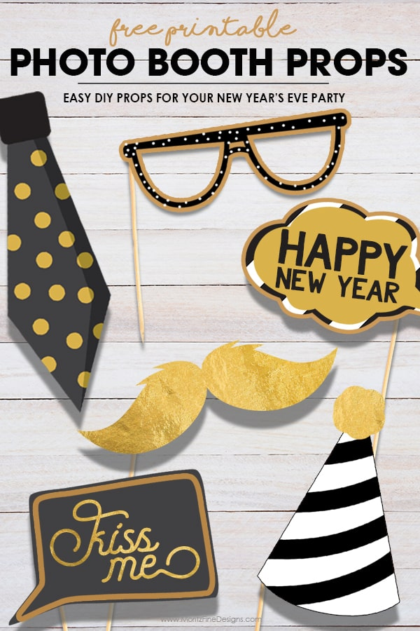 Free Printable Photo Booth Props for New Year's Eve