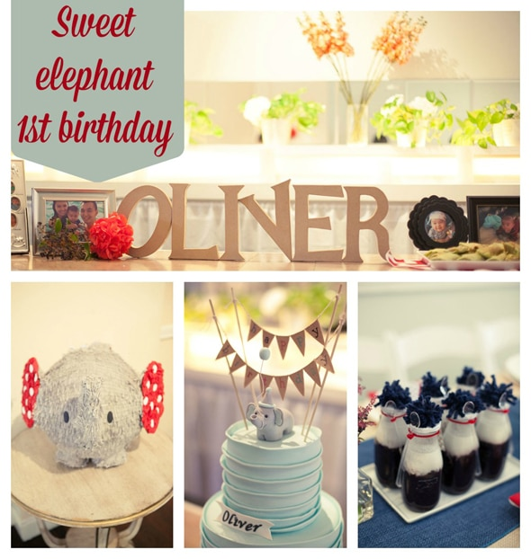 Elephant Themed First Birthday Party
