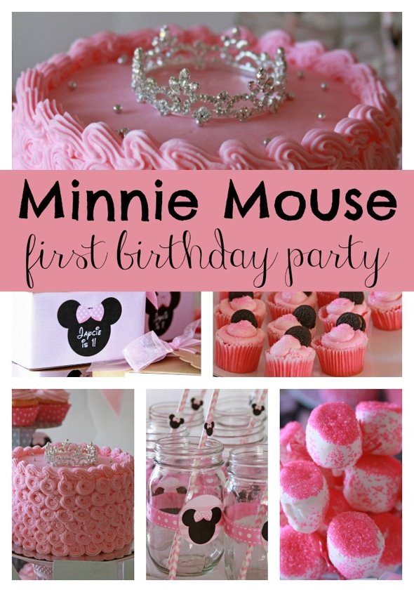 Sweet minnie mouse first birthday pretty my party for Baby girl 1st birthday party decoration ideas