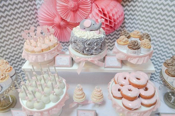 Pink and Grey Elephant Dessert Table