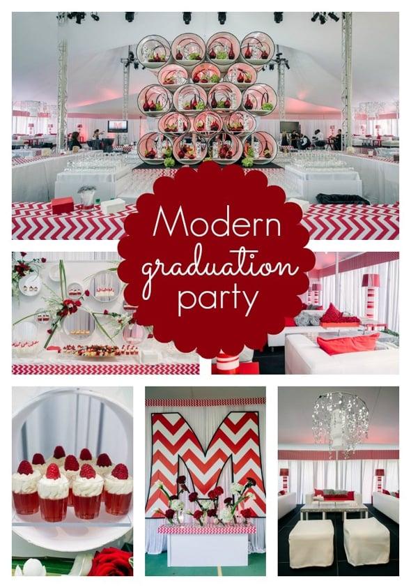 Modern Red Chevron Graduation Party