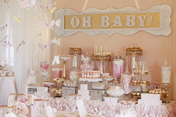 Pink and Gold Baby Shower Candy Table