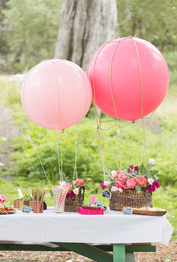 Sparkly pink first birthday party for Air filled balloon decoration ideas