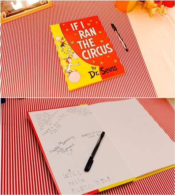Circus Party Book For Guests To Sign