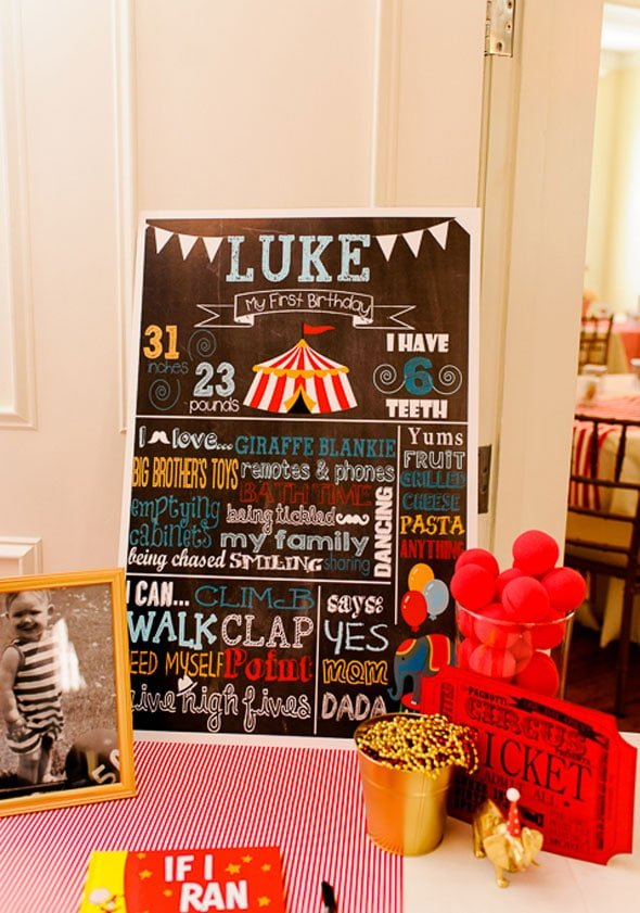 Circus Theme Party - Customized Chalkboard Sign
