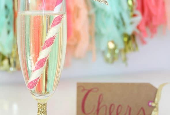 DIY Glittered Champagne Flute