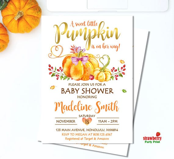 Little Pumpkin Baby Shower Invitation   Little Pumpkin Baby Shower Ideas