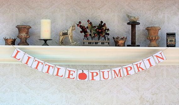 Little Pumpkin Banner   21 Little Pumpkin Baby Shower Ideas