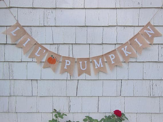 Little Pumpkin Burlap Banner | Little Pumpkin Baby Shower Ideas