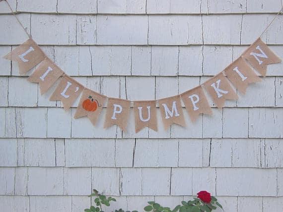 Little Pumpkin Burlap Banner   Little Pumpkin Baby Shower Ideas
