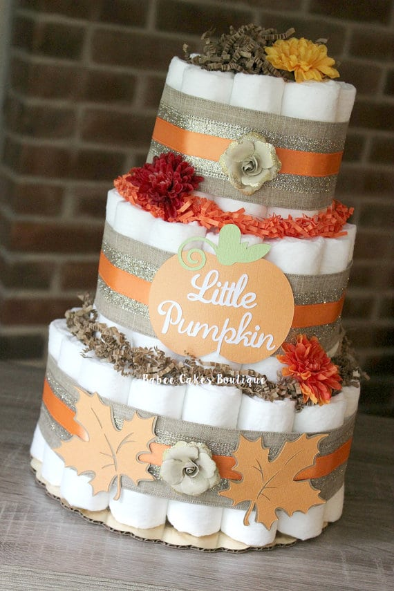 Pumpkin Diaper Cake | Little Pumpkin Baby Shower Ideas