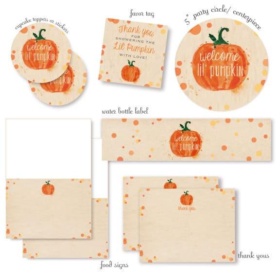 Little Pumpkin Party Set   Little Pumpkin Baby Shower Ideas