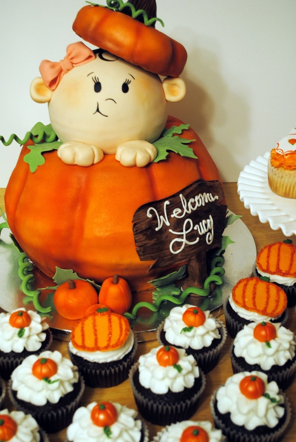 Pumpkin Baby Shower Cake   Little Pumpkin Baby Shower Ideas