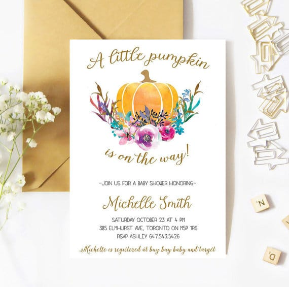 Pumpkin Invitation | Little Pumpkin Baby Shower Ideas