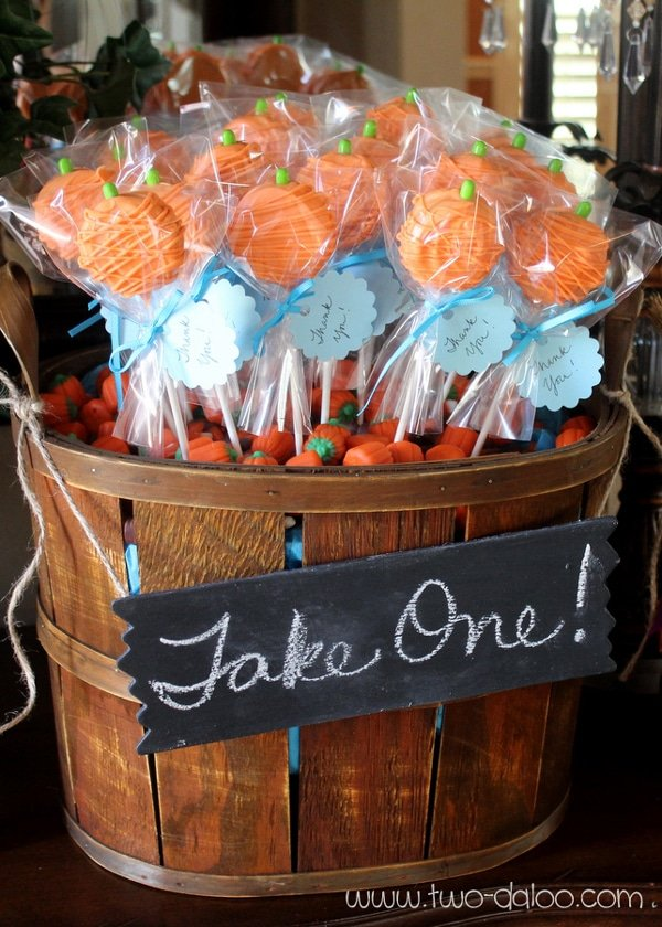Pumpkin Lollipop Favors | Little Pumpkin Baby Shower Ideas