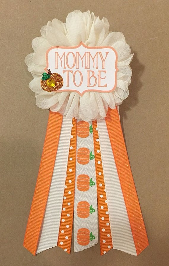 Pumpkin Mom-to-Be Pin | Little Pumpkin Baby Shower Ideas