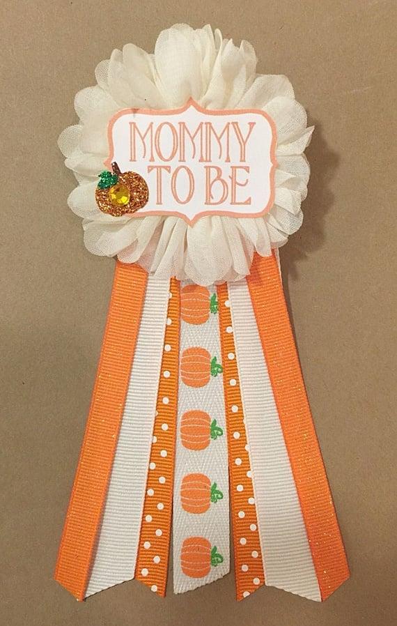 Pumpkin Mom-to-Be Pin   Little Pumpkin Baby Shower Ideas