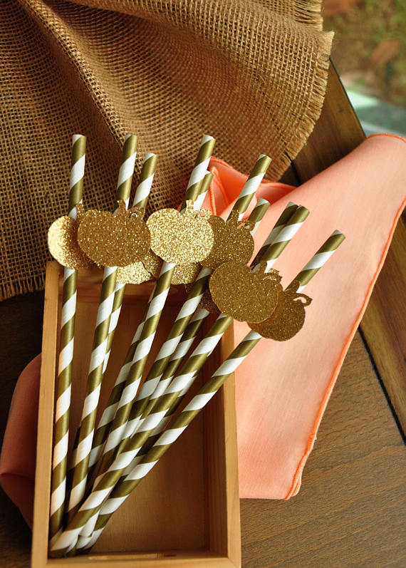 Pumpkin Straws | Little Pumpkin Baby Shower Ideas
