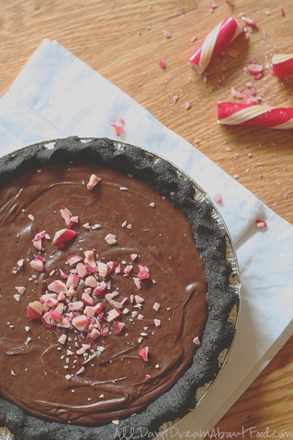 Chocolate Peppermint Ganache Pie via Pretty My Party