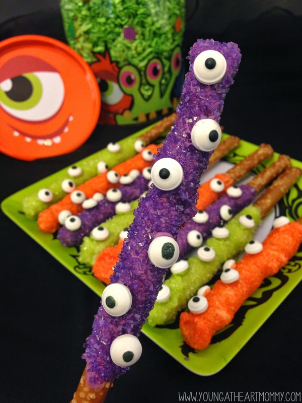 Easy Monster Pretzels - Monster Birthday Party Ideas