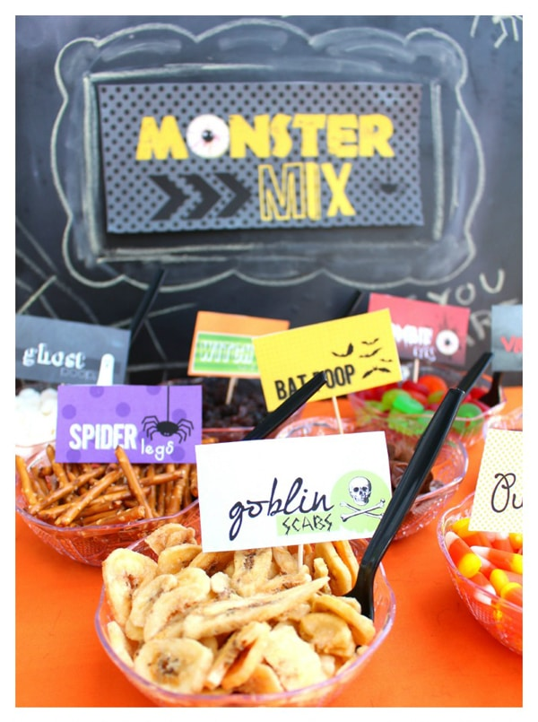 Monster Mix Trail Mix Bar - Monster Birthday Party Ideas