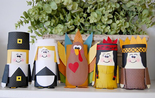 Thanksgiving Paper Tube Friends Craft